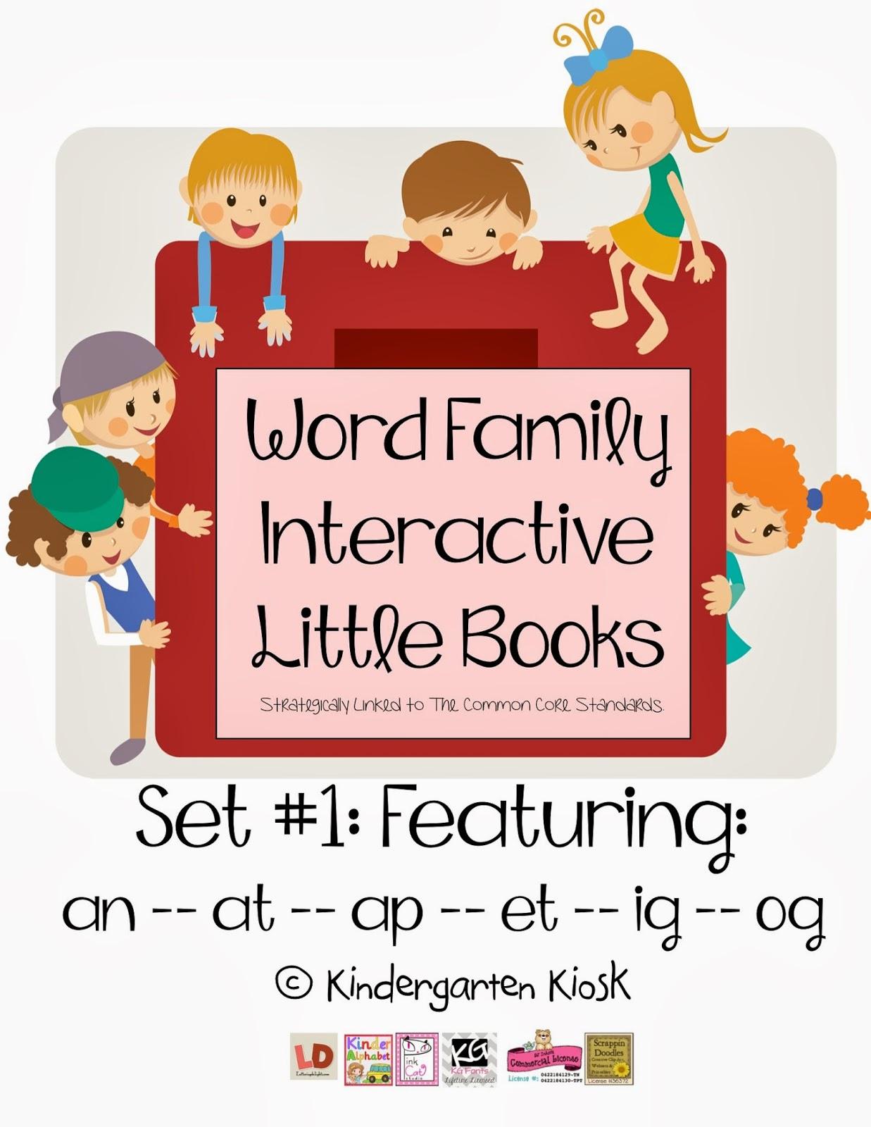 Kindergarten Kiosk Word Family Interactive Little Books