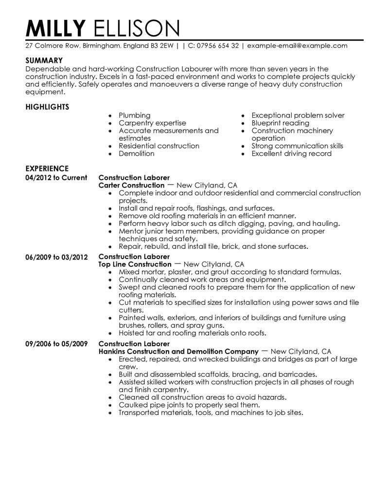 Examples of Resumes for Construction Jobs - Tipss und Vorlagen