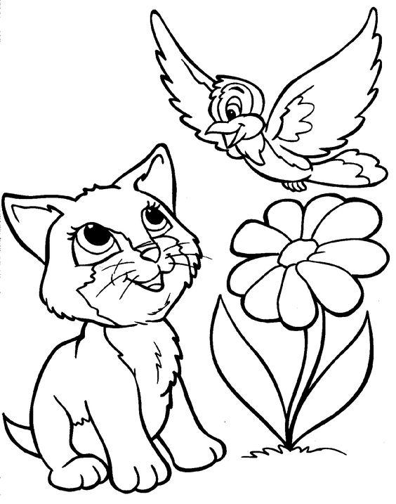 Tranh tô màu con mèo và cây hoa
