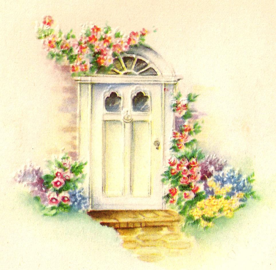 Antique images front door clipart flower garden image for Classic house with flower garden