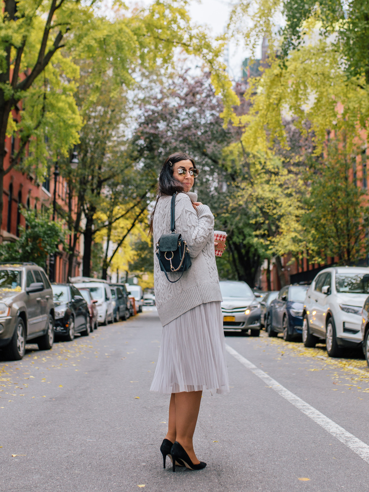Three Outfit Ideas for Pleated Midi Skirts in Fall and Winter featuring the Banana Republic Pleated Midi Skirt :: Effortlessly with Roxy