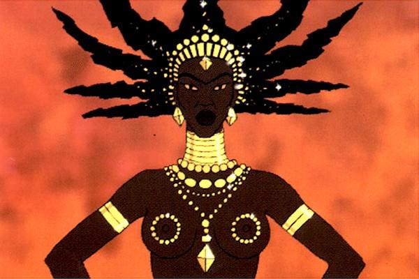 La bruja Karabá de la película Kirikú y la bruja en España y Kirikou y la hechicera en Latinoamérica