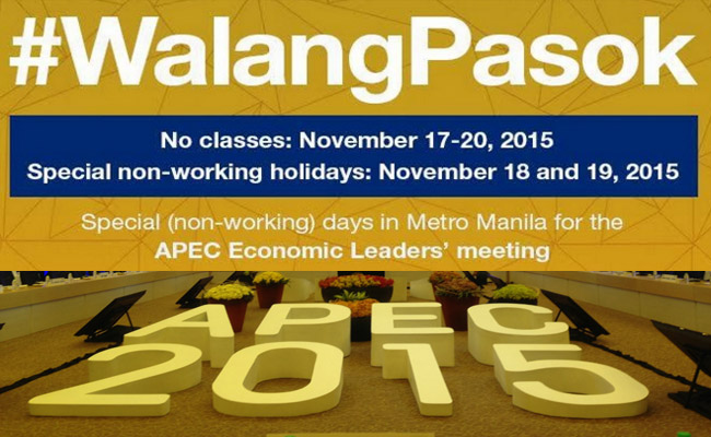 No Classes from November 17 to 20 to Give way for the APEC 2015 Conference