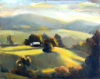Oil painting of a distant building with nearby trees casting long shadows.
