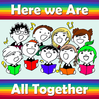 Group of people singing together - Here we are all together as we sing a song our song joyfully; Here we are joined together, as we pray we'll always be. 1 Join we now as friends And celebrate the unity we share, all as one Keep the fire burning, kindle it with care And we'll all join in and sing ... 2 Let us make this world an alleluia, Let us make this world a better place Keep a smile handy, lend a helping hand And we'll all join in and sing ... 3 Glorify our God with all our voices Show him we are sincere by all our deeds Shout the joys of freedom everywhere Let us all join in and sing ....