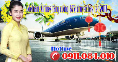 Vietnam Airlines thông báo tăng cường 872 chuyến bay tết 2017