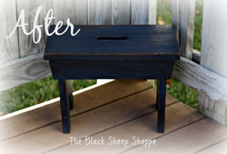 Rustic footstool painted in Napoleonic blue chalk paint
