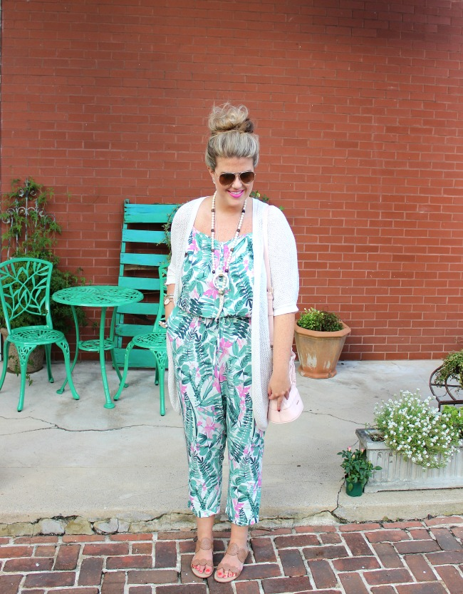 old navy palm print jumpsuit