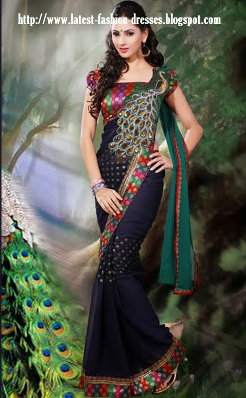 latest design 2014 peacock design sari with silk blouse