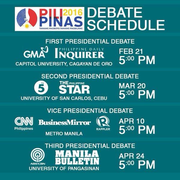 PiliPinas Debates 2016 schedule