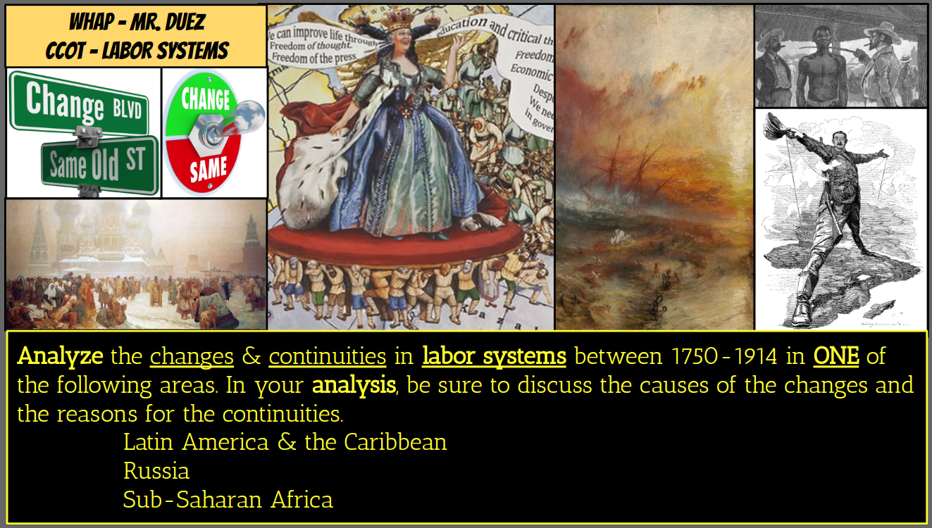 changes and continuities in labor systems In general, latin american development since 1450 - 1900 was a huge change since then, from 16th century up to 18th century, the history of latin america has been one of a supplier for bigger more powerful countries by using local cheap labor and resources, without leaving much richness, work.