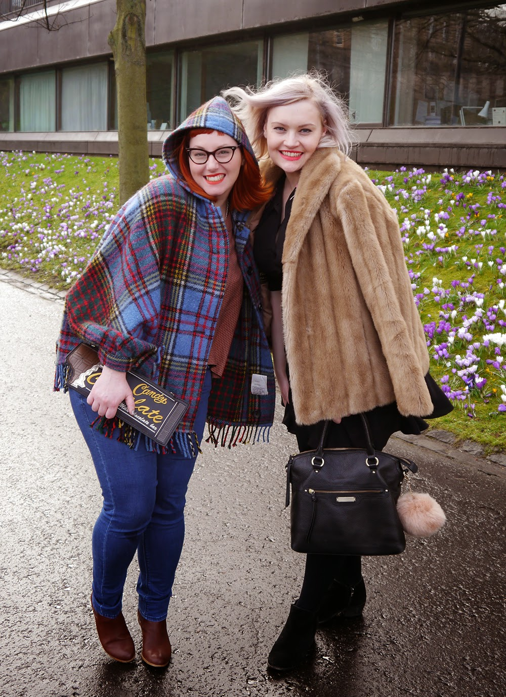 Edinburgh Fashion Week, Scottish Bloggers, Scottish Blogging Duo, Edinburgh Style, Tartan Cape, Faux Fur, Coat, Edinburgh Street Style, Vintage style