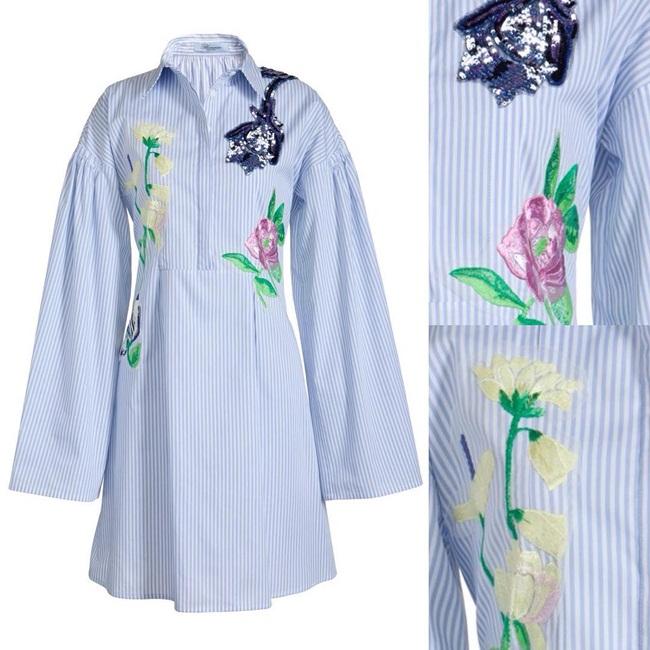 Blumarine花卉刺繡條紋睡衣 撞衫