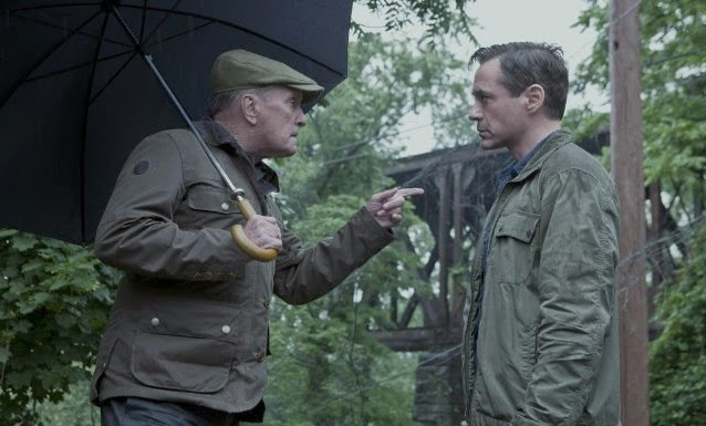 Hank (Robert Downey Jr) and Judge Joseph Palmer (Robert Duvall) in The Judge, Directed by  David Dobkin