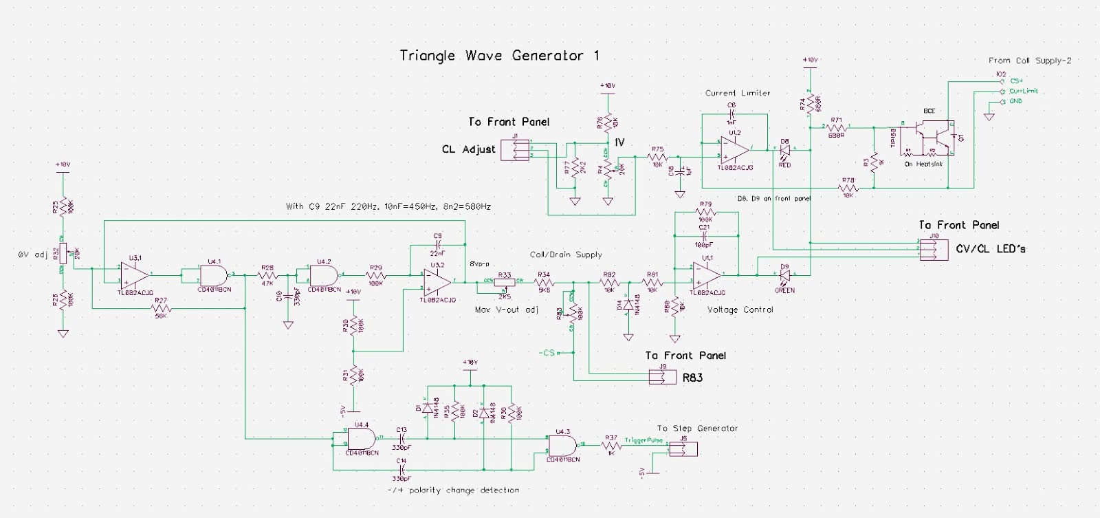Pauls Diy Electronics Blog Building Another Curve Tracer Circuit Diagram If Signal Generator Electronic Schematic Let Me Go Through This A Step At Time The Upper Left Portion Comprises Triangle Waveform