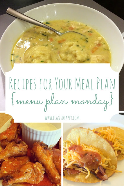 Check out these dinner recipes for your family meal plan, including Chicken and Dumplings, Buffalo Wings, and Breakfast Tacos. These are easy dinners also work on a budget!