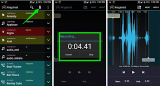 recording will automatically load in Ringdroid editor