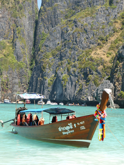 Boat at Maya Bay Phi Phi Island, Thailand, filming location of The Beach