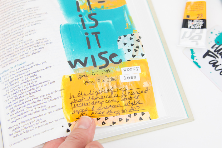 Is It the Wise Thing to Do Proverbs 1 bible journaling page by @createoften