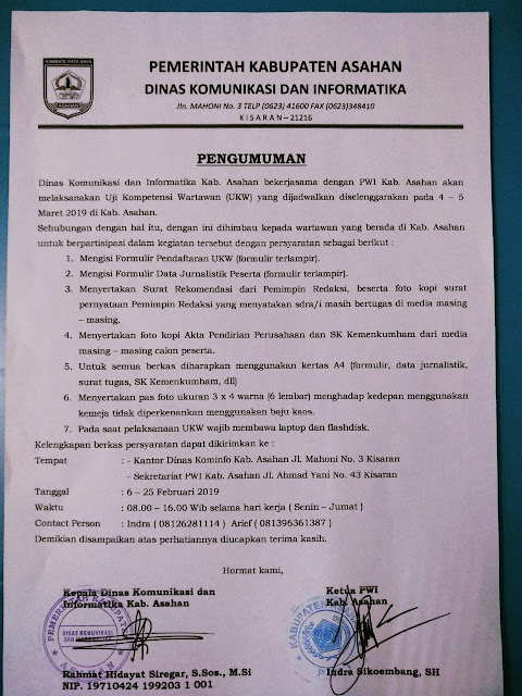 Surat pengumuman pelaksanaan UKW.