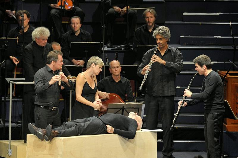 Camilla Tilling, Mark Padmore, Simon Rattle and soloists from Berlin Philharmonic Orchestra in Bach's St Matthew Passion at the BBC Proms - photo credit BBC / Chris Christodoulou