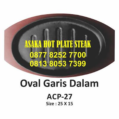 Hot plate Oval Garis ACP - 27, ACP - 27 ( hot plate oval Garis) dengan tatak kayu, hotplate oval garis, jual hotplate oval, hotplate bentuk oval murah