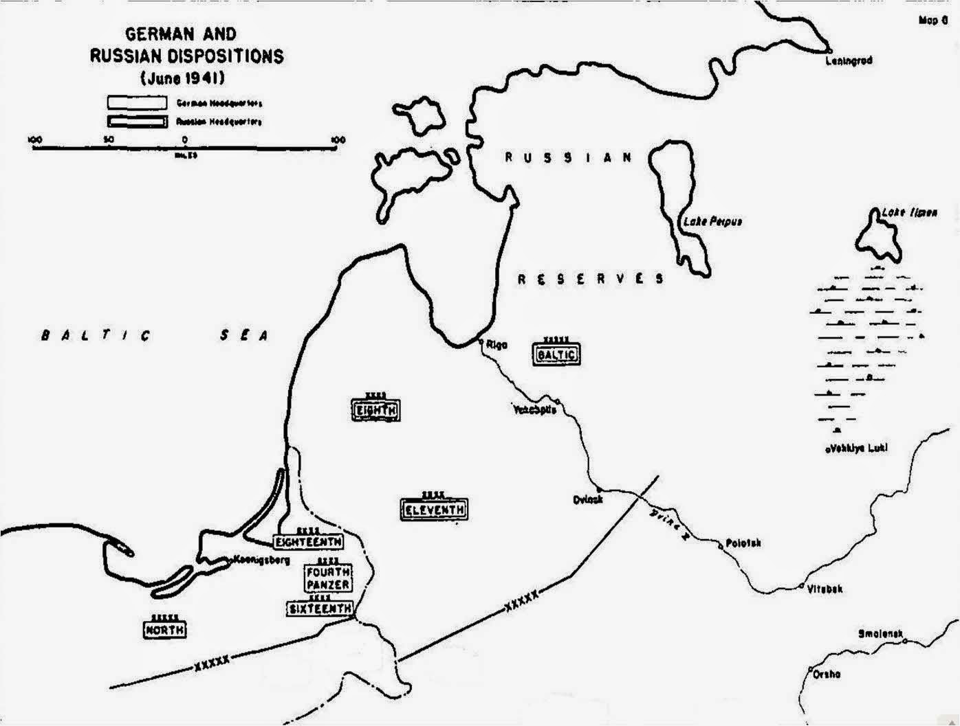 Dispositions of the German and Soviet forces in the northern sector