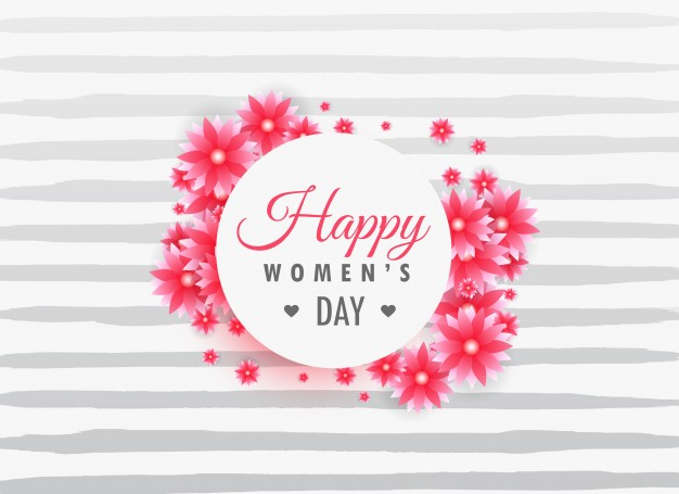 Striped background with woman's day flowers Free Vector