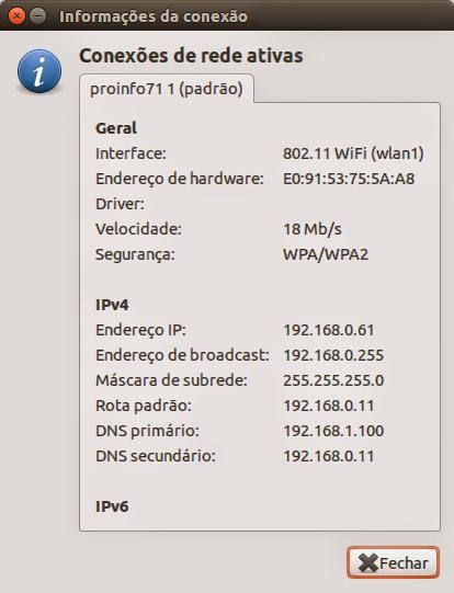 Informações de rede no Ubuntu
