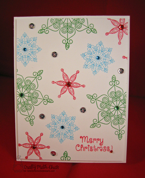 Snowflake Card by Crafty Math-Chick | Inky Paws Challenge 38 | Beautiful Blizzard Stamp Set by Newton's Nook Designs #newtonsnook