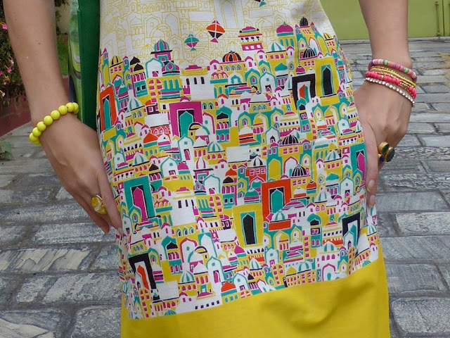 Old Indian town print dress