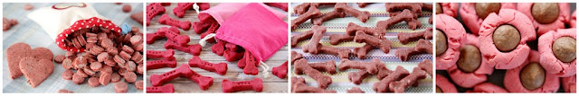 Pink and red homemade dog treats