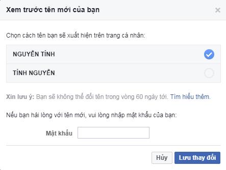 Hướng dẫn đổi tên facebook full chữ in hoa