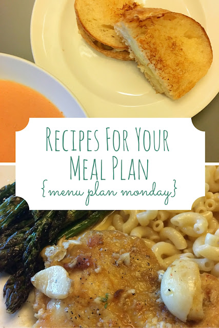 This week's Recipes for Your Meal Plan features Creamy Garlic Chicken and the best tomato soup and grilled cheese recipes you'll ever find!