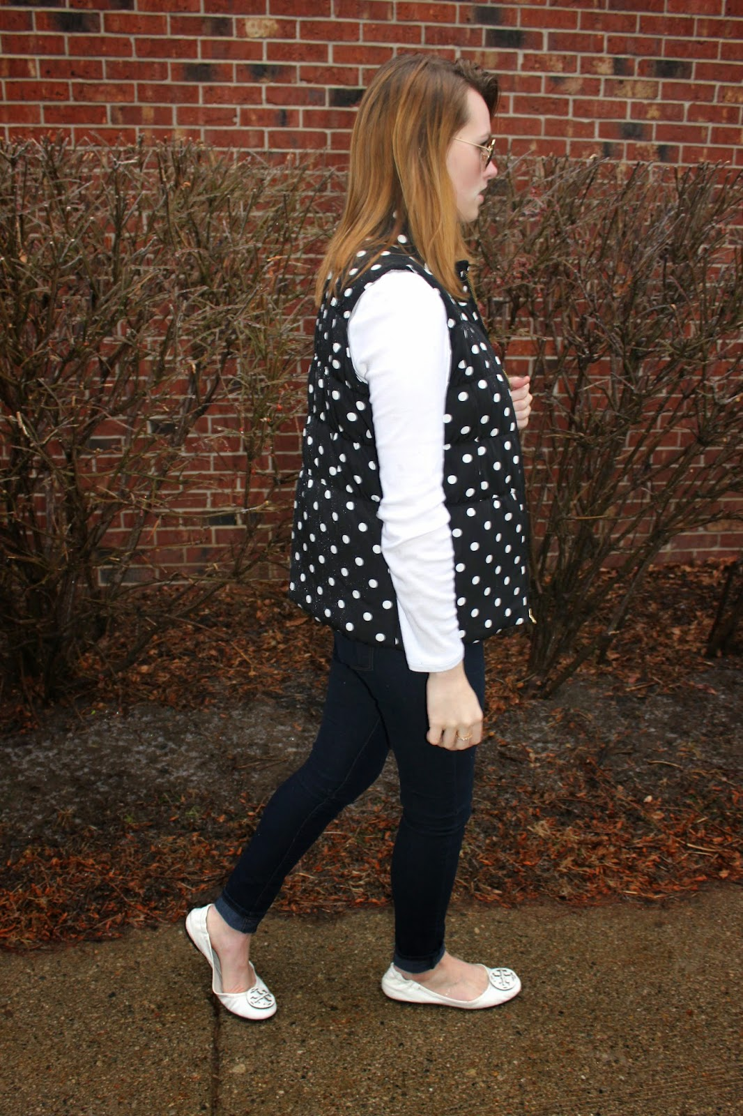 9abda6eeb73835 What I Wore  Top  Old Navy Perfect Shirt   Vest  Target Polka Dot Vest    Jeans  Forever 21 Jeans   Shoes  Tory Burch Reva Flats (Similar)    Necklace  Bow ...