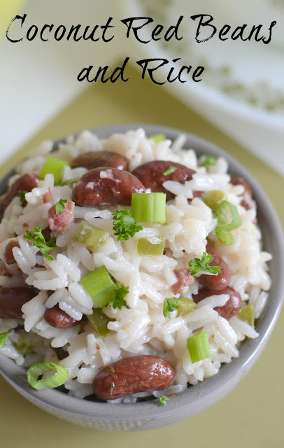 A wonderful savory rice and beans side dish with bits of bacon and jalapeno! Goes great with beef, chicken, fish or pork! Coconut Red Beans and Rice Recipe from Hot Eats and Cool Reads