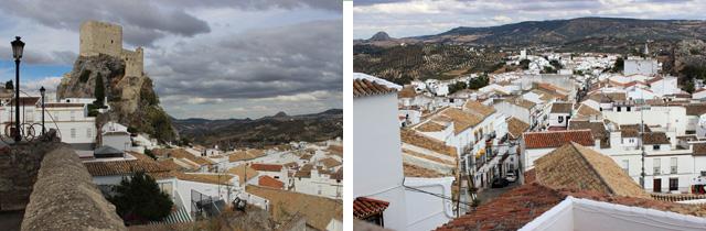 Vistas del castillo (izda.) y de las calles de Olvera desde la plaza de la iglesia Nuestra Señora de la Encarnación