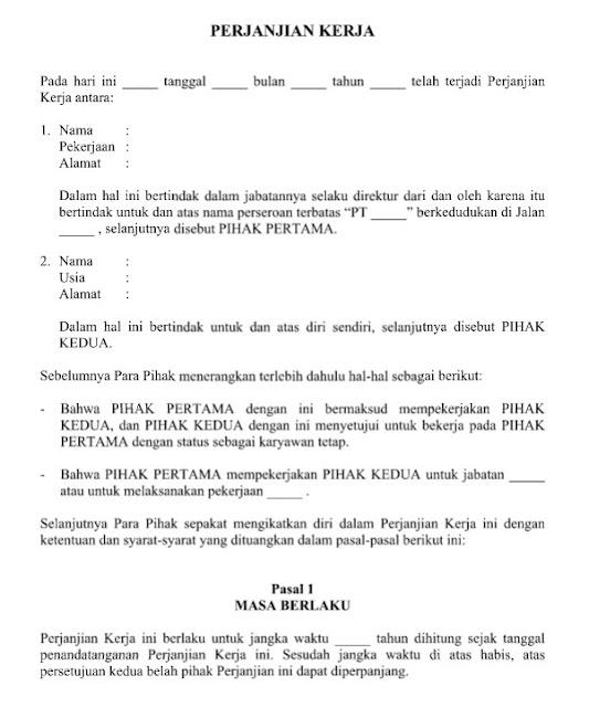 Contoh dan Format Surat Perjanjian Kerja Resmi Terbaru File Word