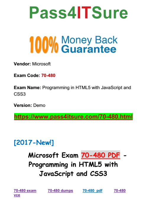 Latest Microsoft Exam Guides 2017 Hot Best Microsoft 70 480 Dumps