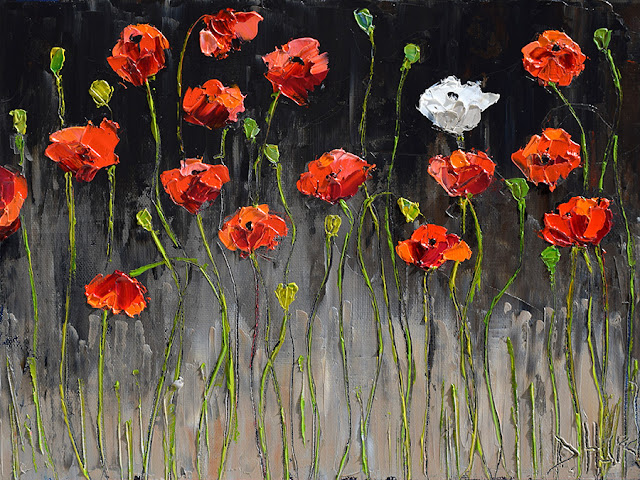 Red Poppies Art Floral Painting Flower Paintings White Poppy Texture by Debra Hurd