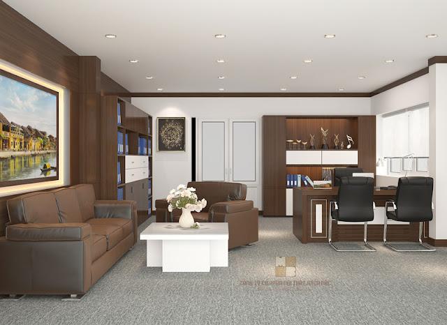 Trong mẫu thiết kế phòng giám đốc này chiếc tủ trưng bày cũng được đặc biệt chú trọng, về màu sắc và chất liệu có sự đồng điệu với tổng thể không gian nội thất