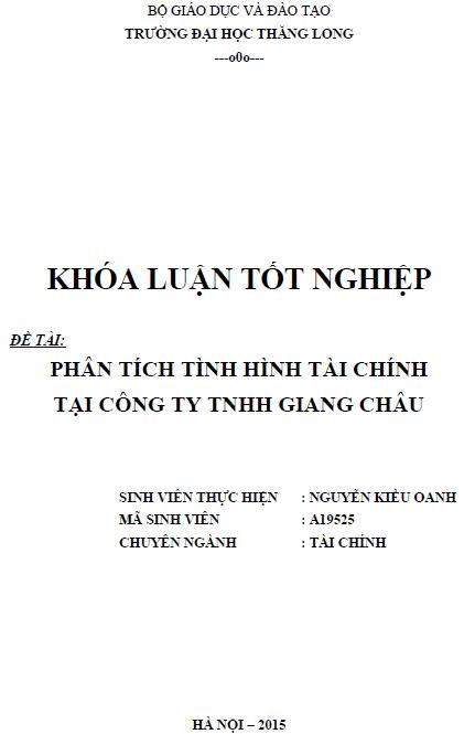 Phân tích tình hình tài chính tại Công ty TNHH Giang Châu