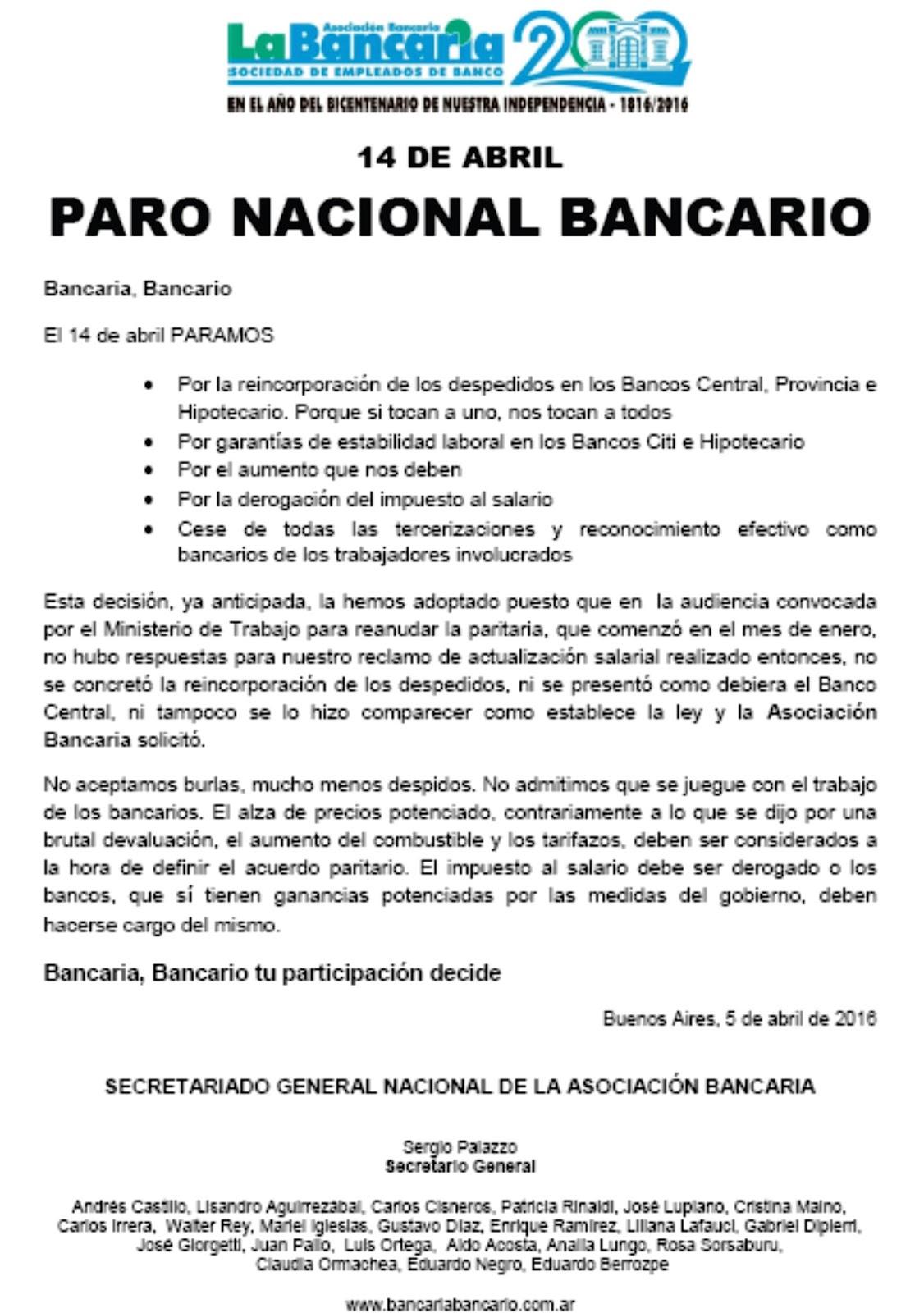 Asociacion Bancaria Chivilcoy: abril 2016