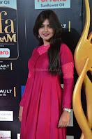 Monal Gajjar in Maroon Gown Stunning Cute Beauty at IIFA Utsavam Awards 2017 006.JPG