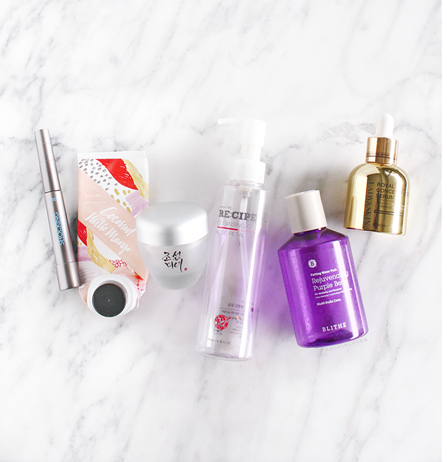 L'Oreal Telescopic Shocking Extensions Mascara, Illume Coconut Milk Mango Hand Creme, Beauty of Joseon Dynasty Cream, RE:CIPE Rose Petal Cleansing Oil, Blithe Patting Splash Mask, Lady & Skin Royal Gold Concentrated Serum