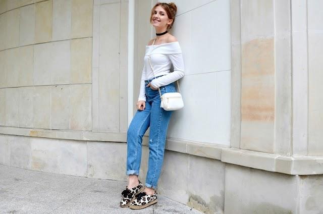 Off The Shoulder Top & Mom Jeans