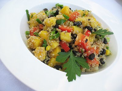 Black Bean and Quinoa Salad with Fresh Mango and a Chaat Masala Dressing