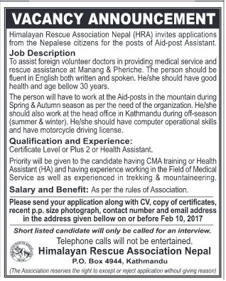 Aid-post Assistant - Himalayan Rescue Association Nepal