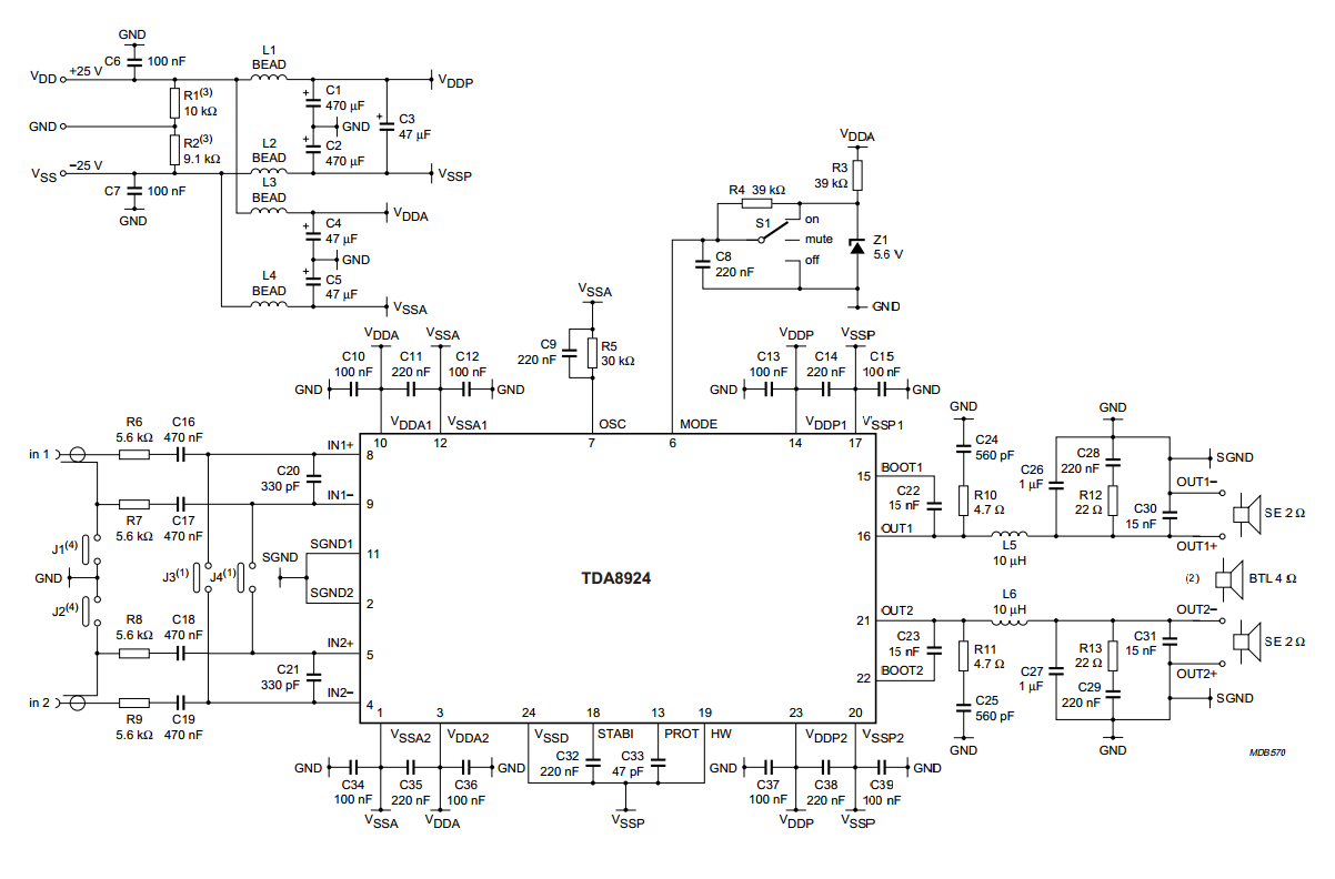 hight resolution of general description the tda8924 is a high efficiency class d audio power amplifier with very low dissipation the typical output power is 2 120 w the