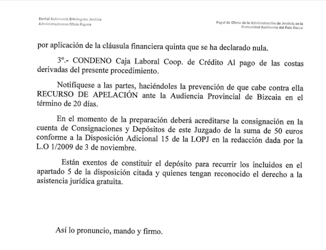 sentencia clausula suelo gastos hipoteca